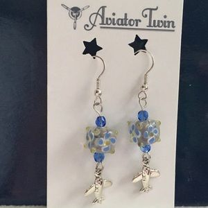 Single Engine Airplane Earrings with Blue Beads